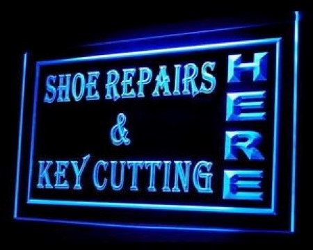 OPEN Shoes Repairs Key Cutting LED Neon Sign