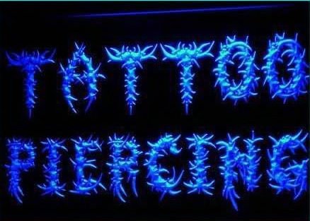 OPEN Tattoo & Piercing Shop Body Neon Light Sign