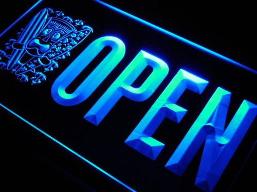 OPEN Tiki Bar Surf Beer Pub Neon Light Sign