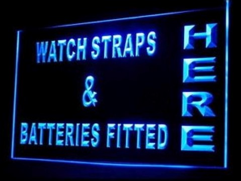 OPEN Watch Straps Batteries LED Neon Sign