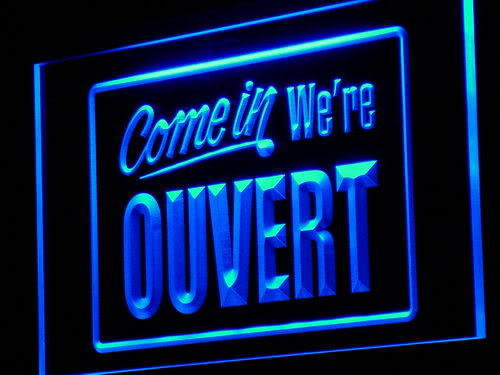 OUVERT Come In We're OPEN Neon Light Sign