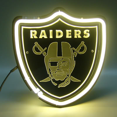 Oakland Raiders Shield Neon Bar Mancave Sign
