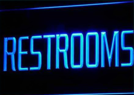 RESTROOMS Toilet Washroom Fluorescent Light Sign