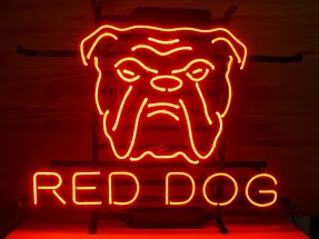 Red Dog Logo Text Classic Neon Light Sign 17 x 14