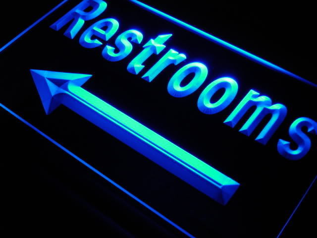Restroom Arrow Toilet Cafe Bar Neon Light Sign