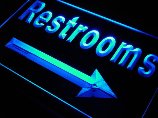 Restrooms Toilet Arrow right Neon Light Sign