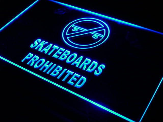 Skateboards Prohibited Sport Game Neon Sign