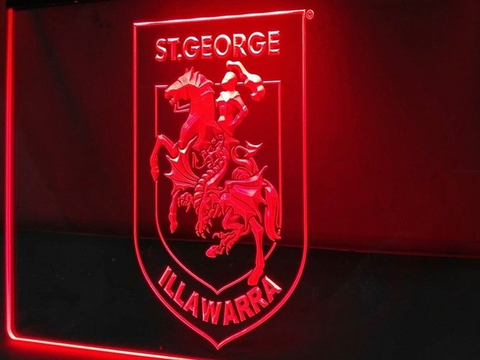 St George Dragons LED Neon Flag Sign Large NRL