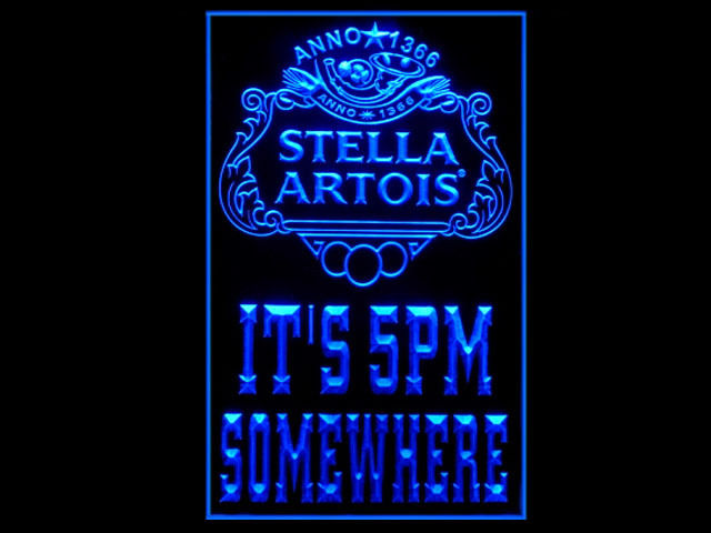Stella Artois ITS 5PM SOMEWHERE Badge Logo Tall Sign Neon