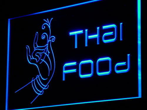Thai Food Thailand Restaurant Cafe Hand Light Sign