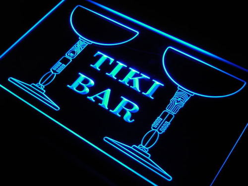 Tiki Bar Cocktail Mask Beer Pub Neon Light Sign