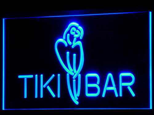 Tiki Bar Parrot OPEN Display