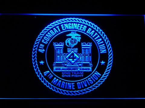 US Marine Corps 4th Combat Engineer Battalion LED Neon Sign