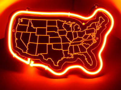 USA State Map Red Neon Bar Mancave Sign