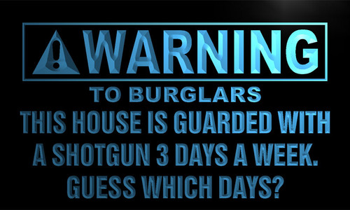 Warning House Guarded with Shotgun Neon Sign