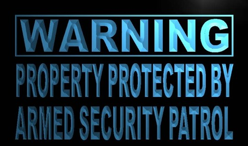 Warning Property Protected By Security Neon Sign