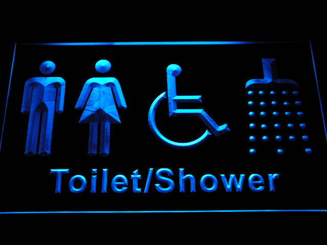 Women Men Disabled Shower Room Toilet Change Neon Light Sign