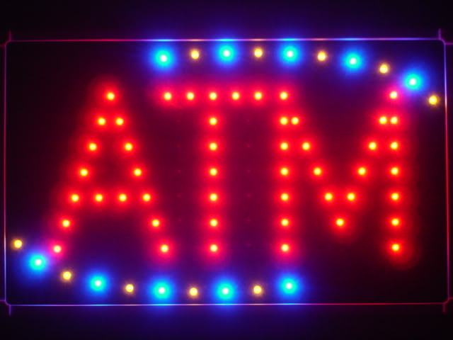 ATM Red LED Neon Light Sign with Back Board