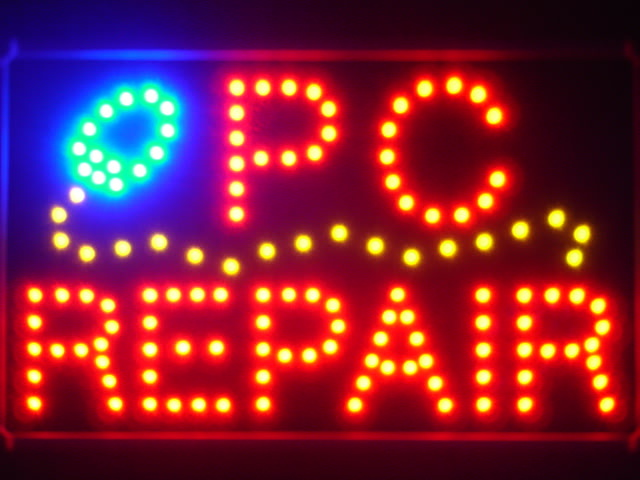 PC Repair LED Neon Light Sign with Whiteboard