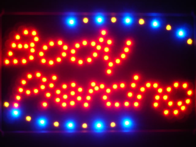 Body Piercing Shop Led Neon Sign WhiteBoard