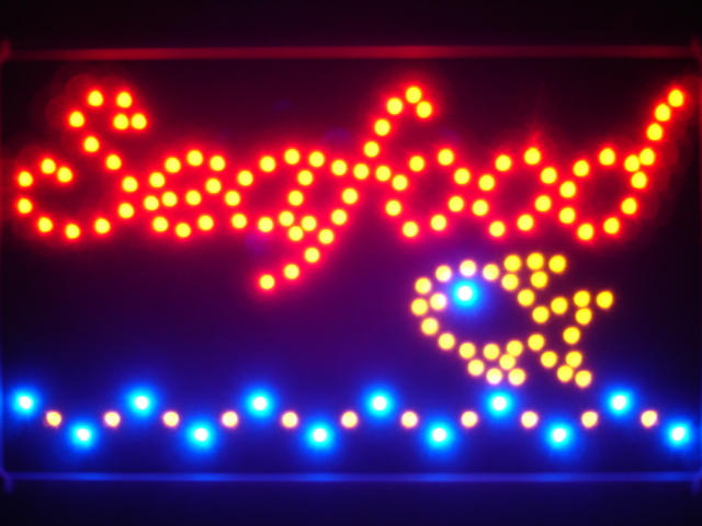 Seafood Restaurant Led Neon Sign WhiteBoard