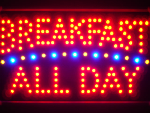Breakfast All Day Led Neon Sign WhiteBoard