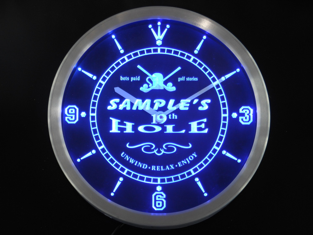 Golf 19th Hole Custom Personalized Your Name Bar LED Clock