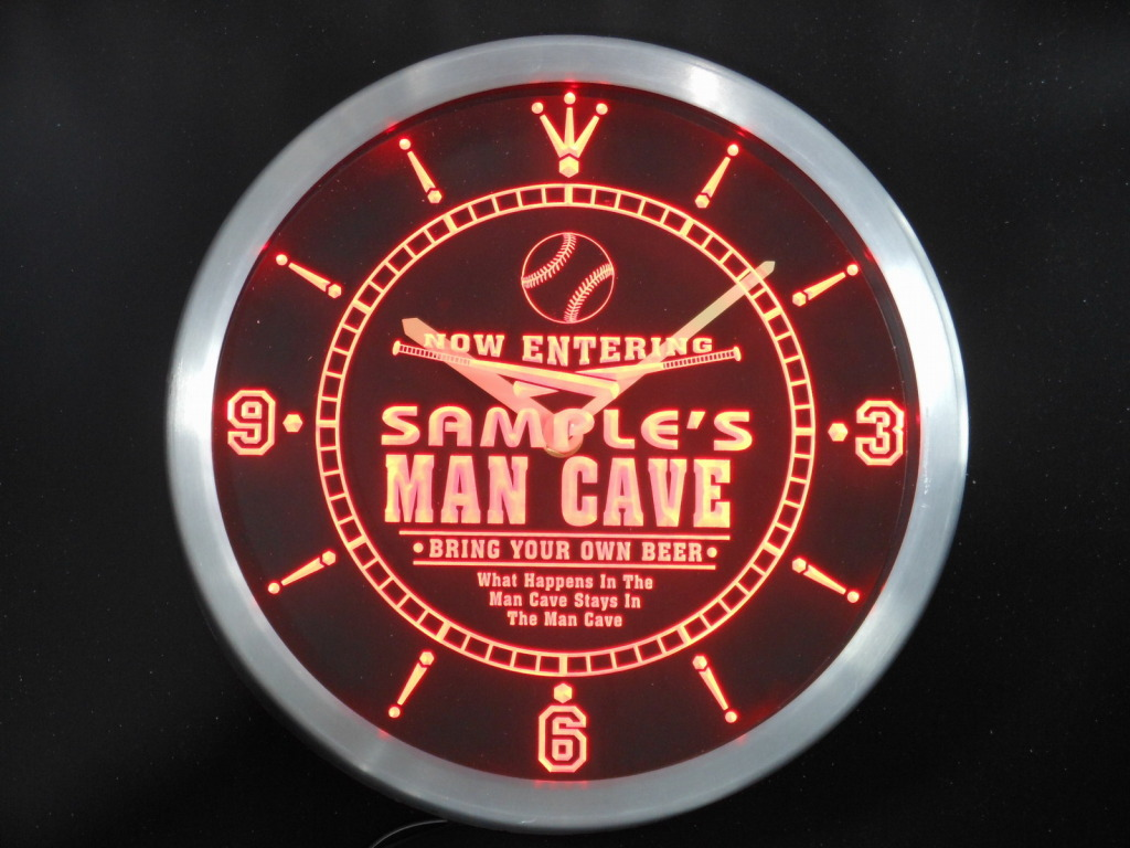 Name Personalized Custom Man Cave Baseball Bar LED Clock