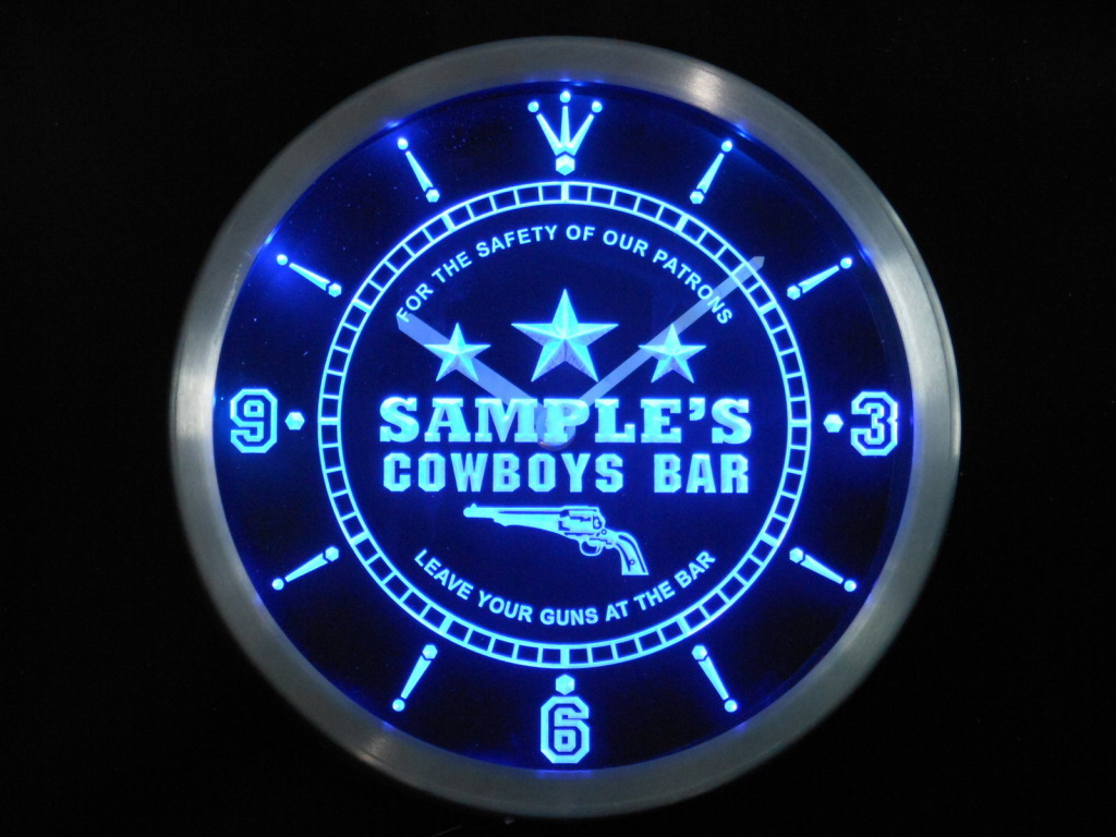 Name Personalized Cowboys Leave Your Guns At The Bar Neon Clock