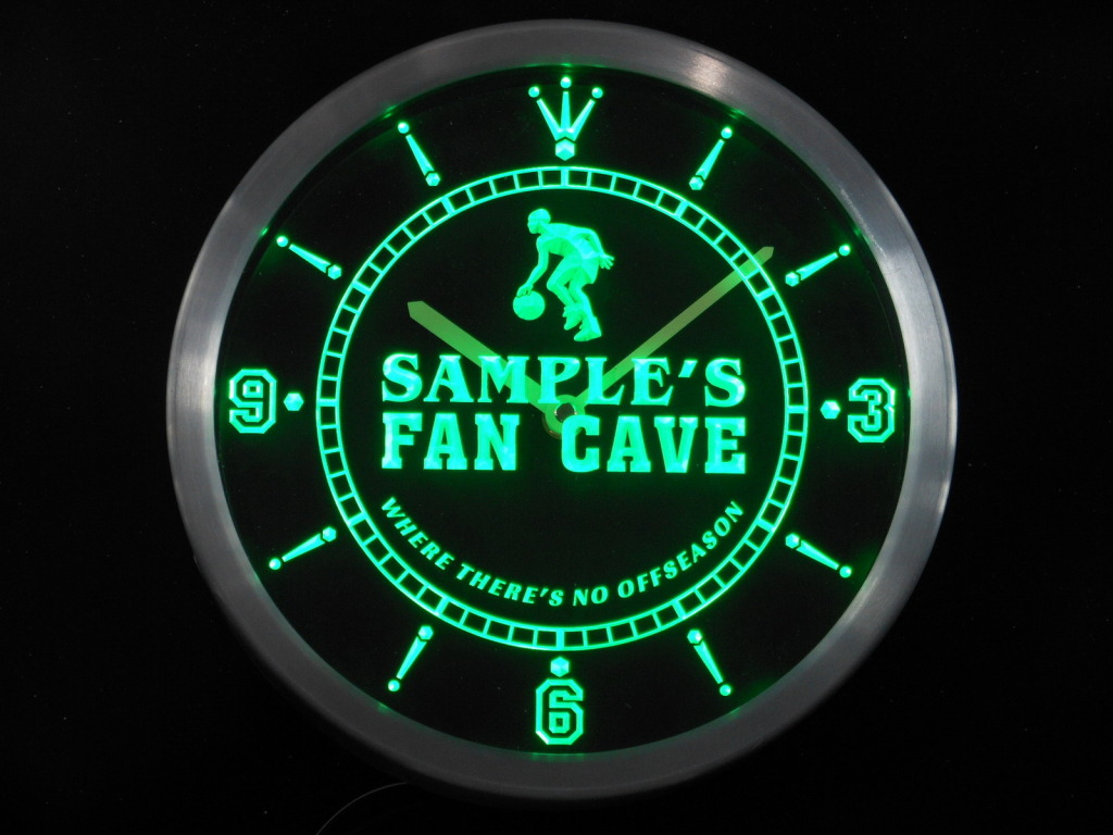 Name Personalized Basketball Fan Cave Man LED Clock