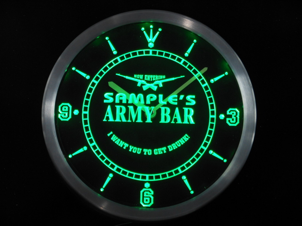 Custom Army Bar Personalized Your Name Bar LED Clock