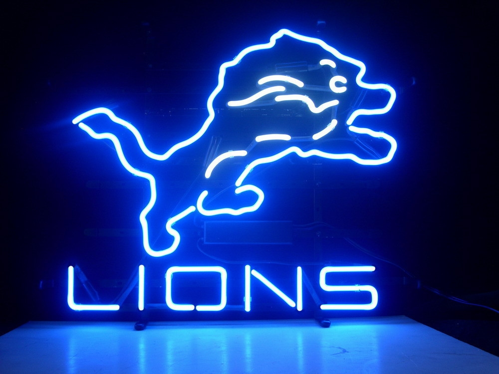 NFL Detroit Lions Blue Classic Neon Light Sign 16 x 14