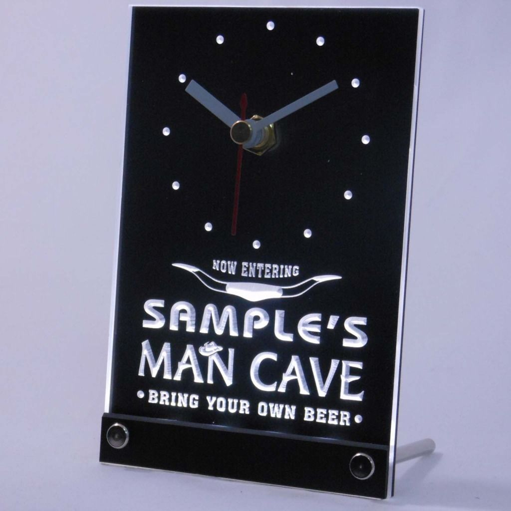 Personalized Man Cave Room Bar Led Table Clock White