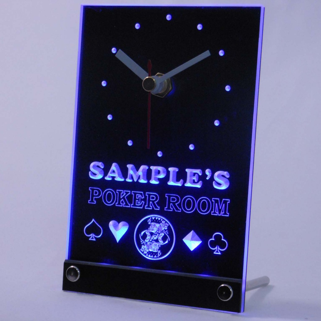 Personalized Poker Room Room Bar Led Table Clock Blue