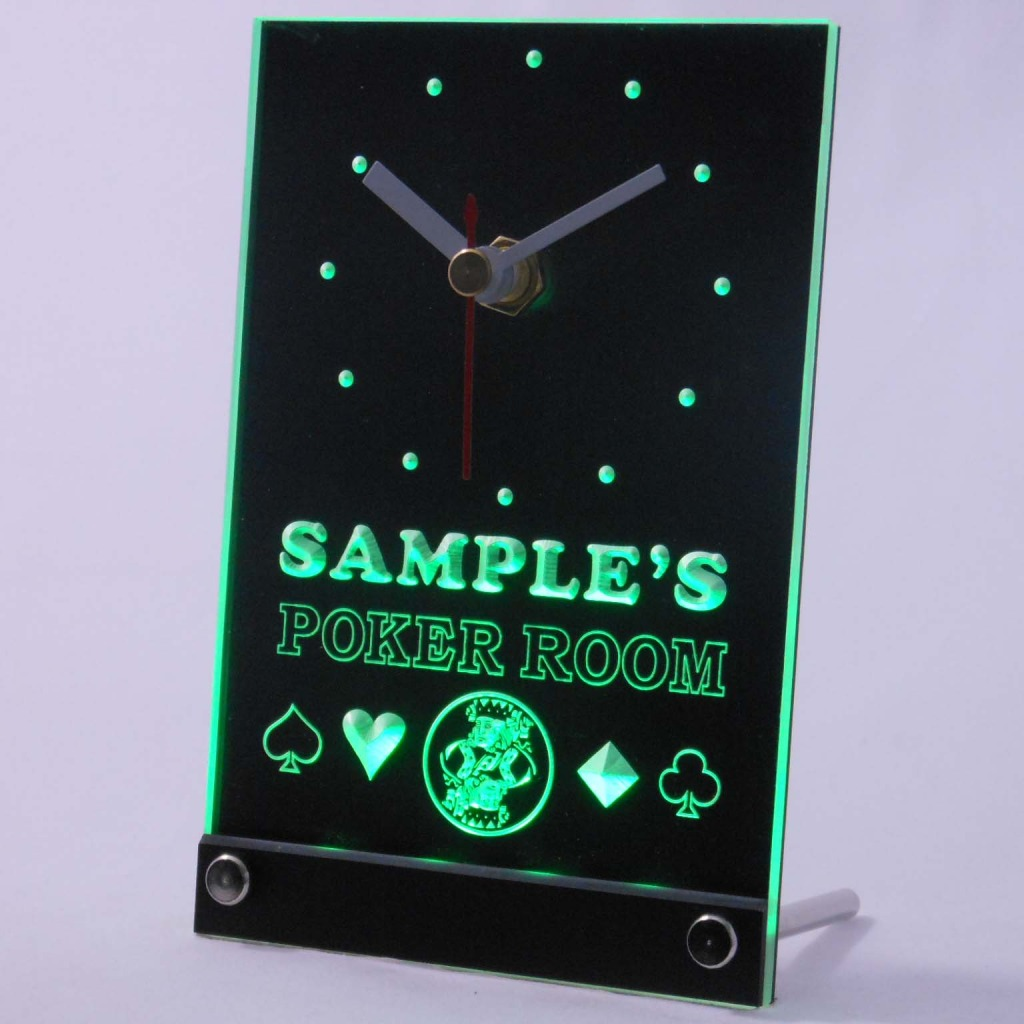 Personalized Poker Room Room Bar Led Table Clock Green