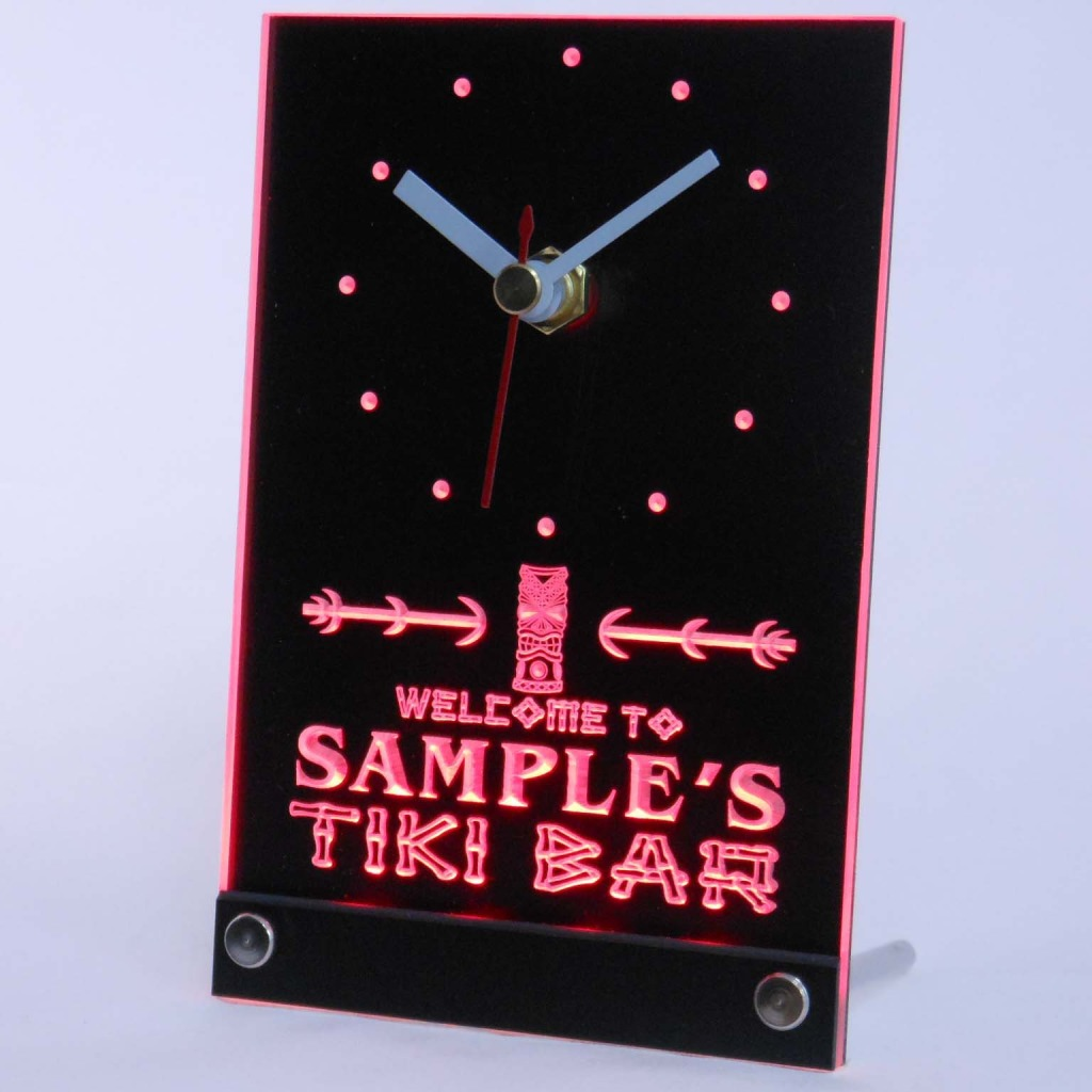 Personalized Tiki Bar Bar Led Table Clock Red