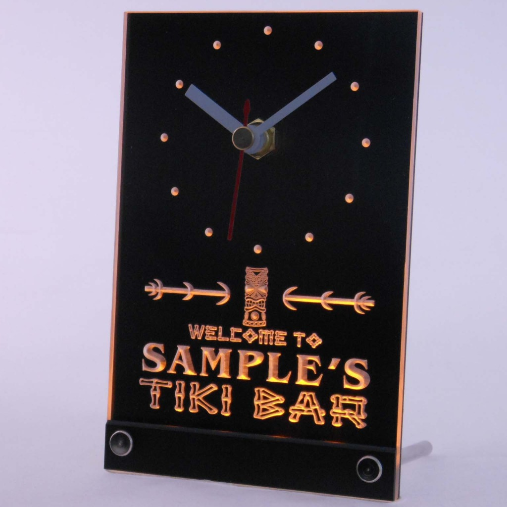 Personalized Tiki Bar Bar Led Table Clock Yellow