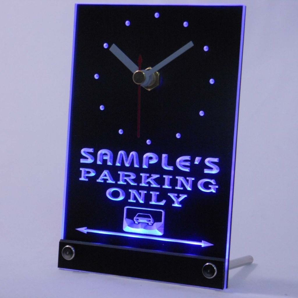Personalized Car Parking Only Bar Neon Led Table Clock Blue