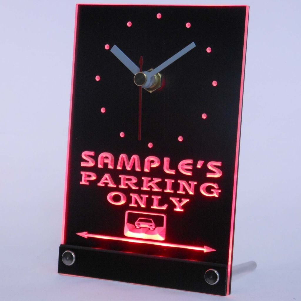 Personalized Car Parking Only Bar Neon Led Table Clock Red