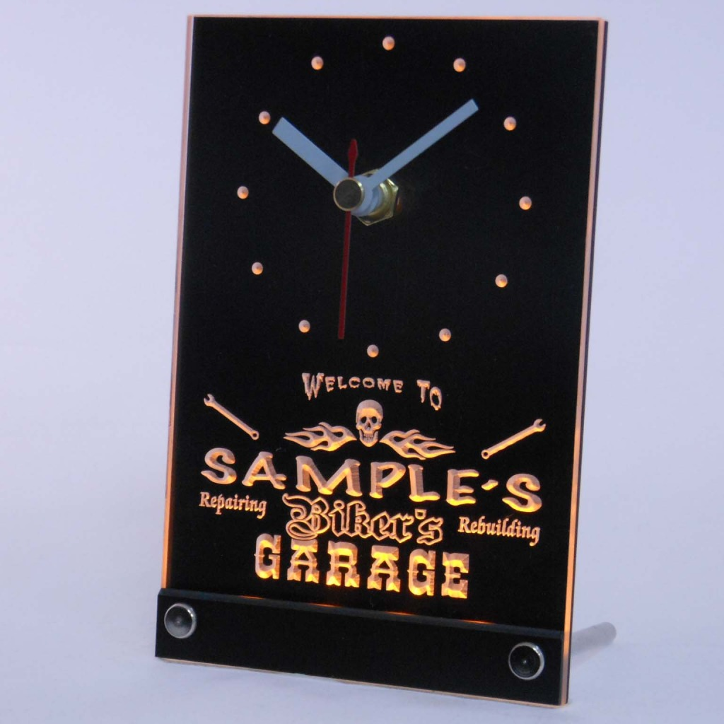 Personalized Biker's Skull Garage Bar Led Table Clock Yellow