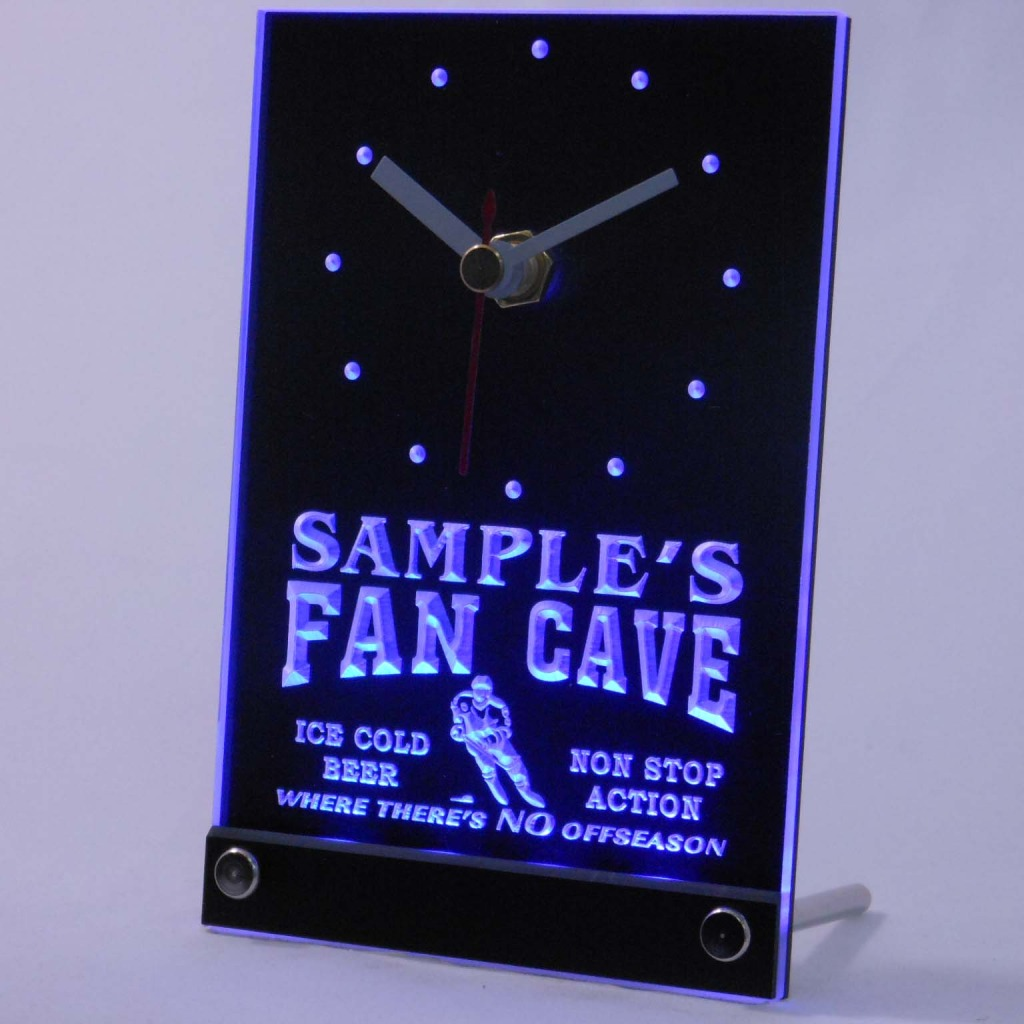 Personalized Custom Hockey Fan Cave Bar Led Table Clock Blue