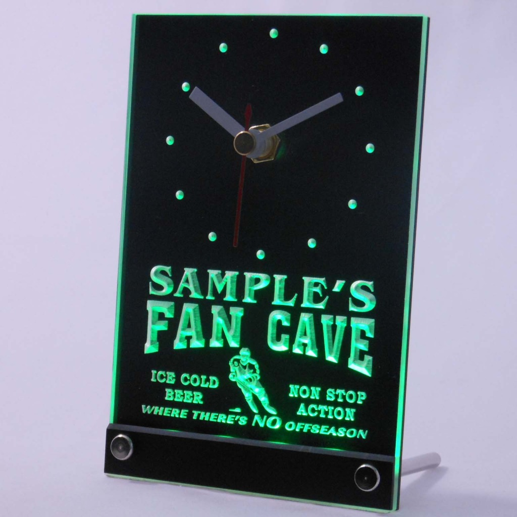 Personalized Custom Hockey Fan Cave Bar Led Table Clock Green