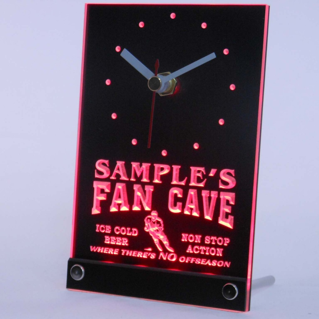 Personalized Custom Hockey Fan Cave Bar Led Table Clock Red