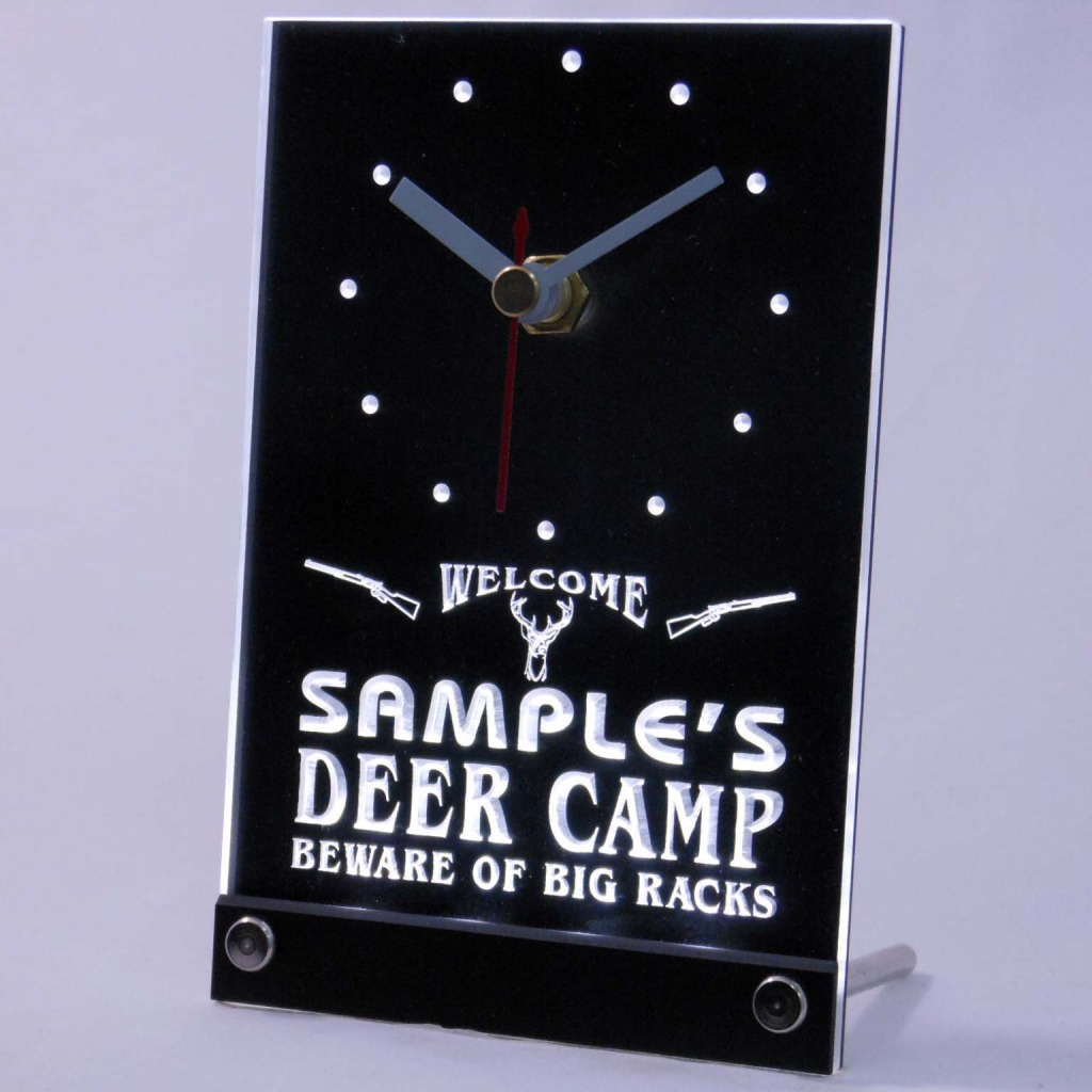 Personalized Deer Camp Big Racks Bar Led Table Clock White