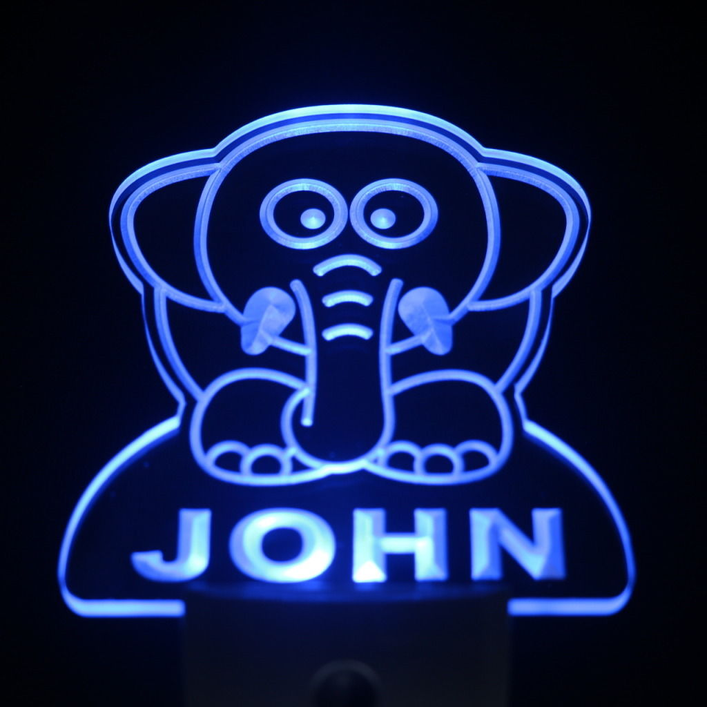 Elephant Personalized Day Night Sensor LED Night Light Blue