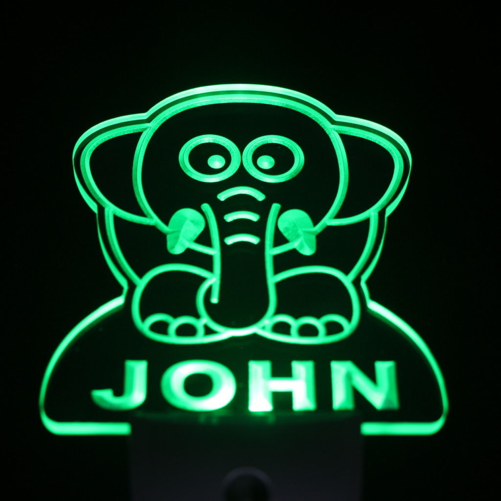 Elephant Personalized Day Night Sensor LED Night Light Green