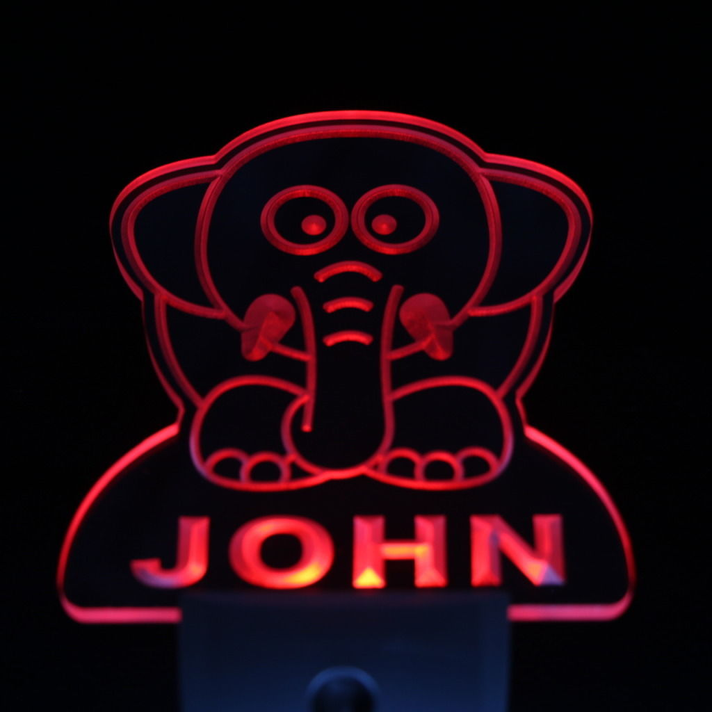 Elephant Personalized Day Night Sensor LED Night Light Red