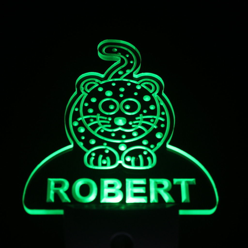 Leopard Personalized Day Night Sensor LED Night Light Green