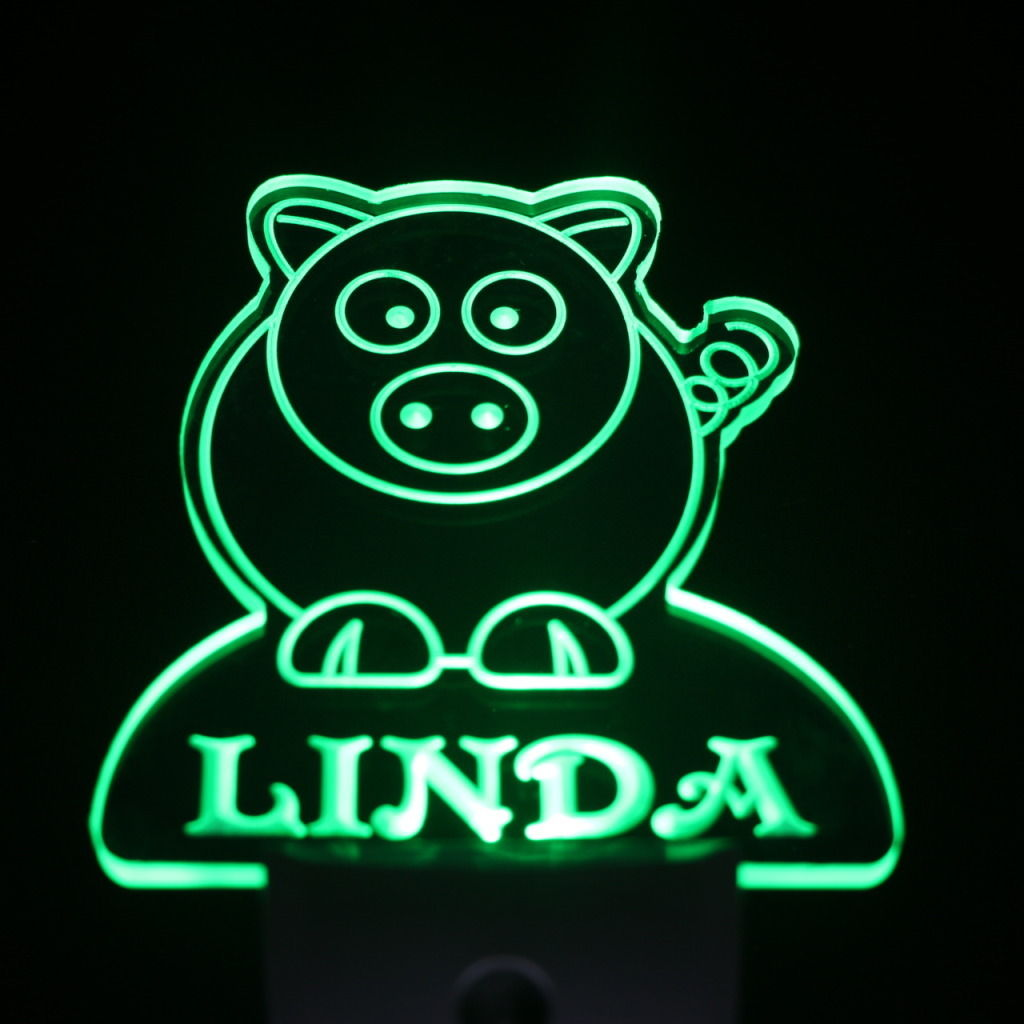 Pig Personalized Day Night Sensor LED Night Light Green