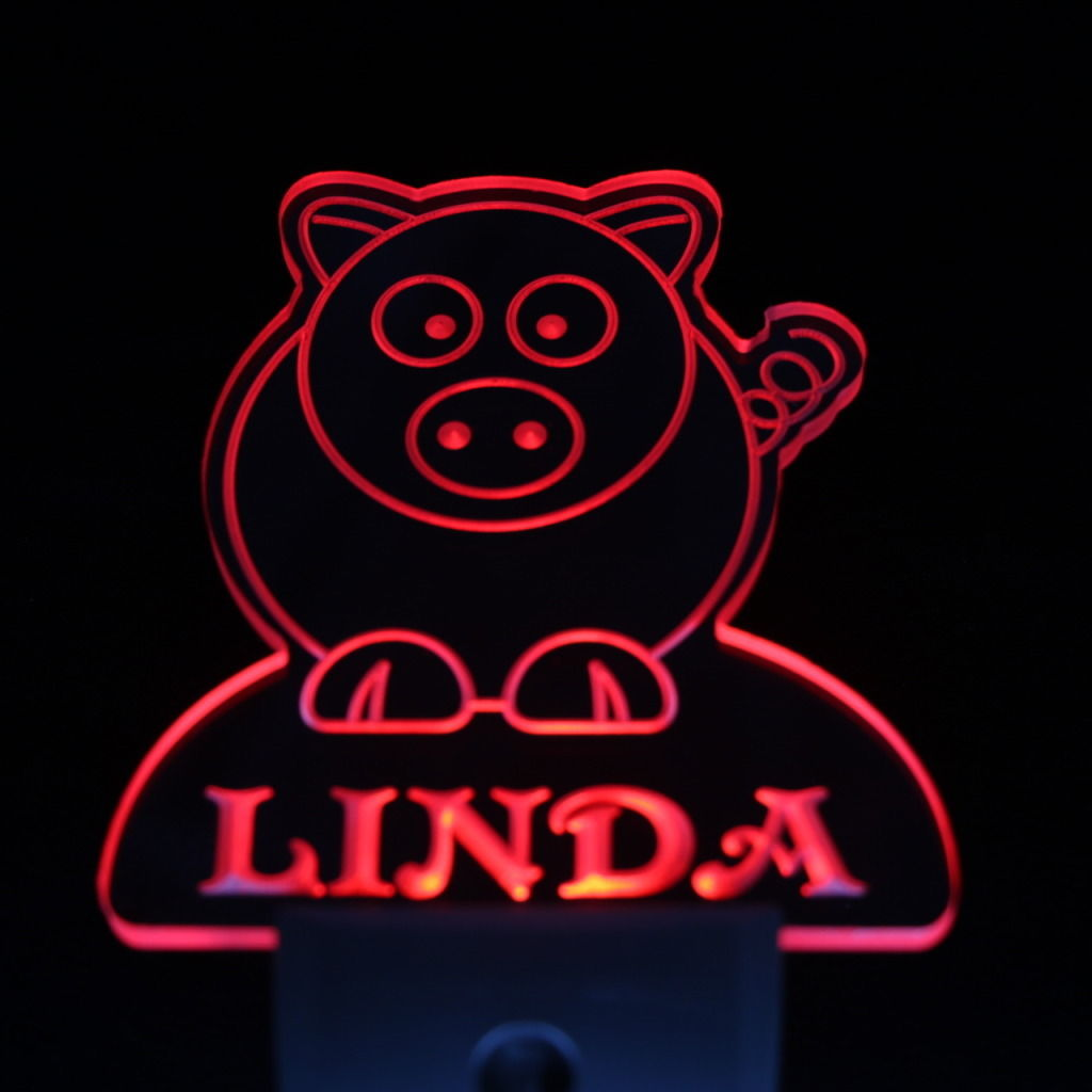 Pig Personalized Day Night Sensor LED Night Light Red